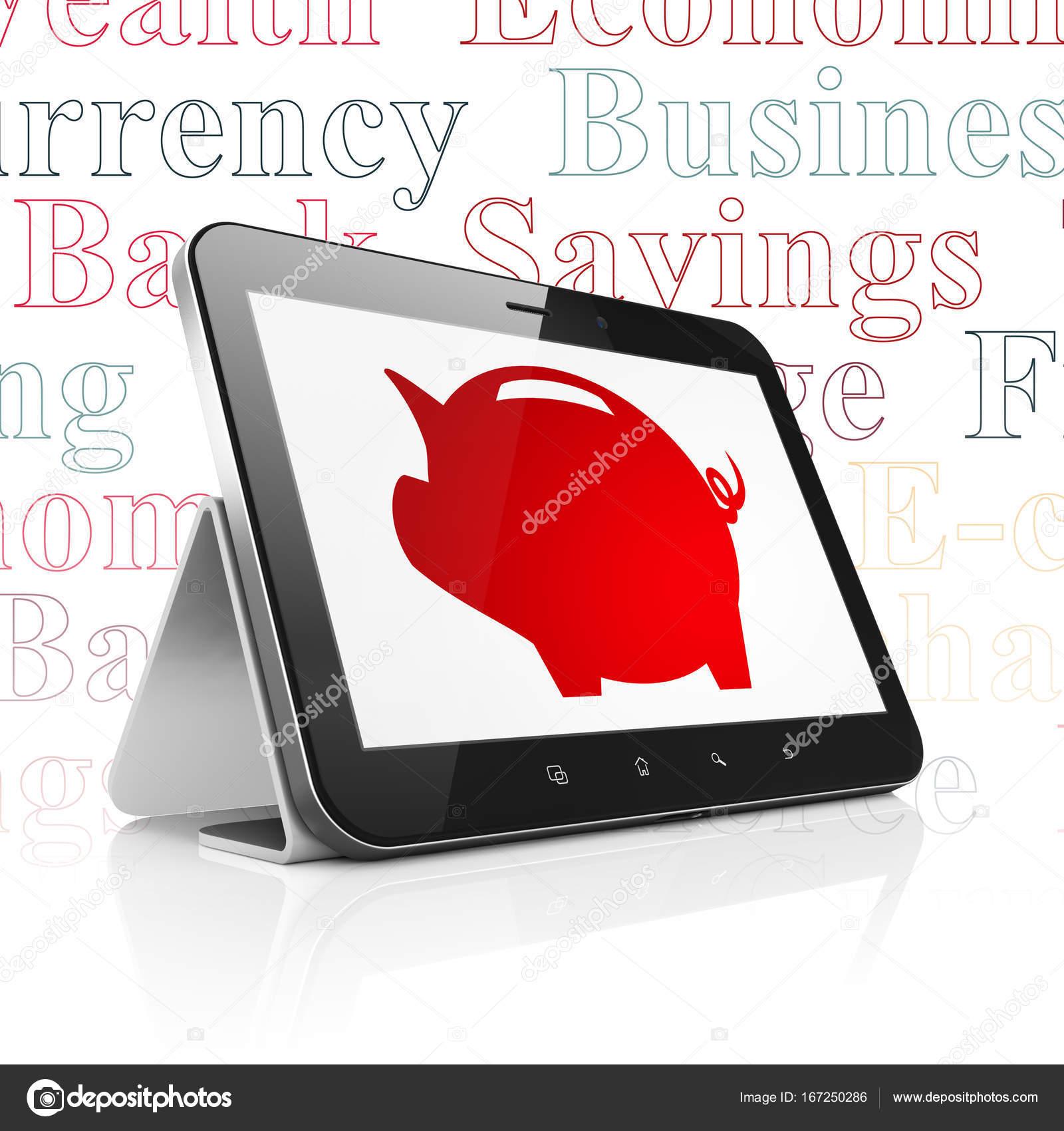 Banking Konzept Tablet Computer Mit Geld Kasten Auf Dem