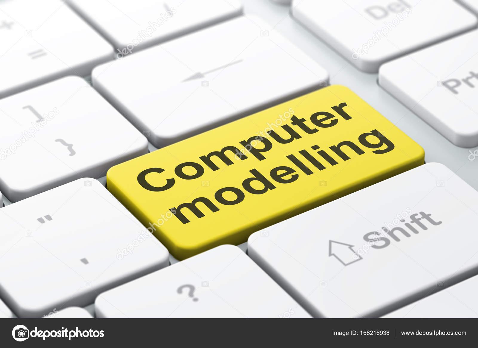 Wissenschaft-Konzept: Computer Modellierung am Computer Tastatur ...