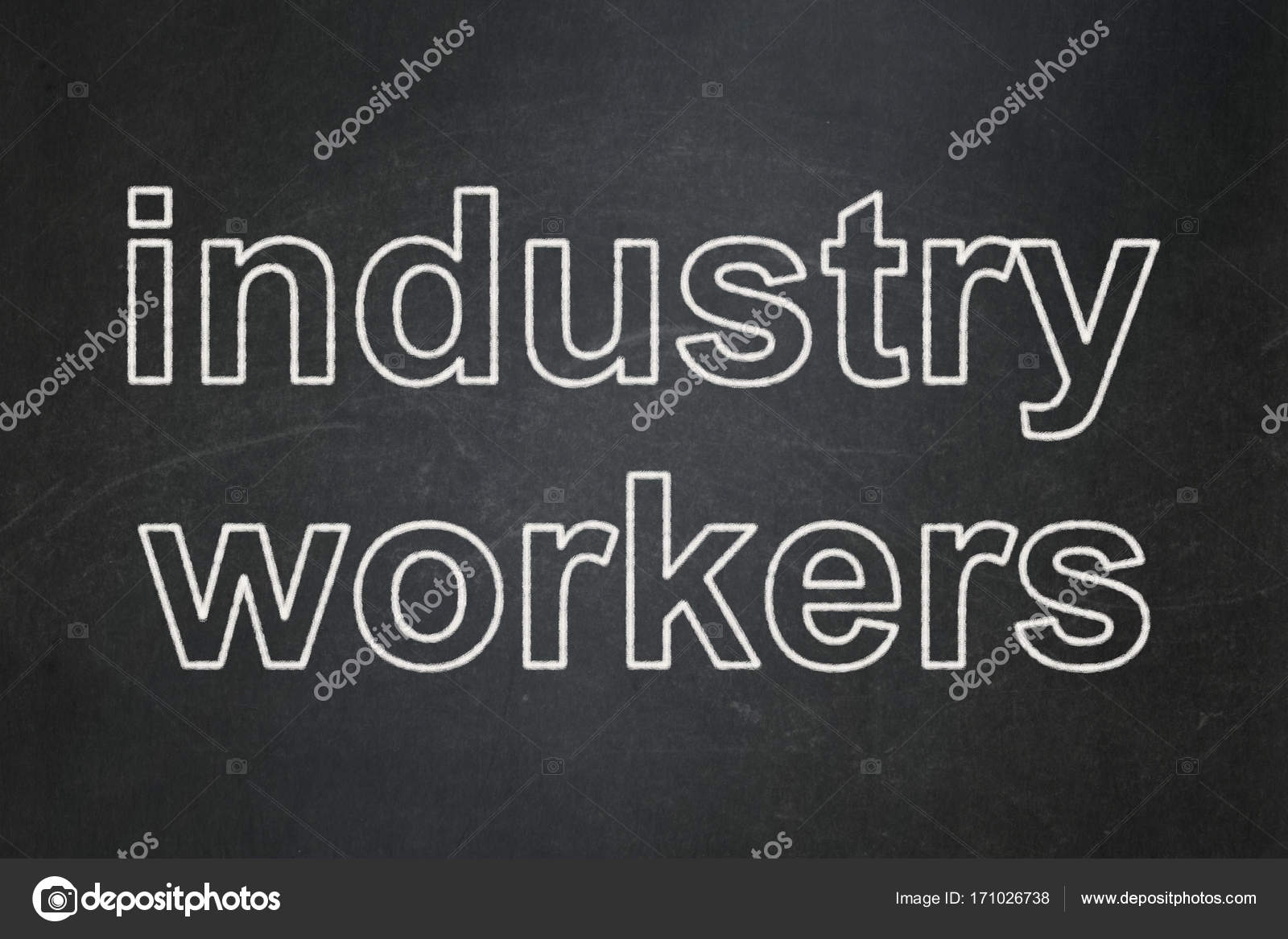 industry concept industry workers on chalkboard background stock