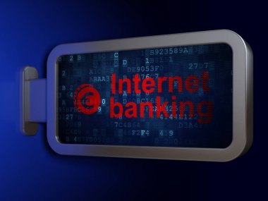 Currency concept: Internet Banking and Euro Coin on billboard background