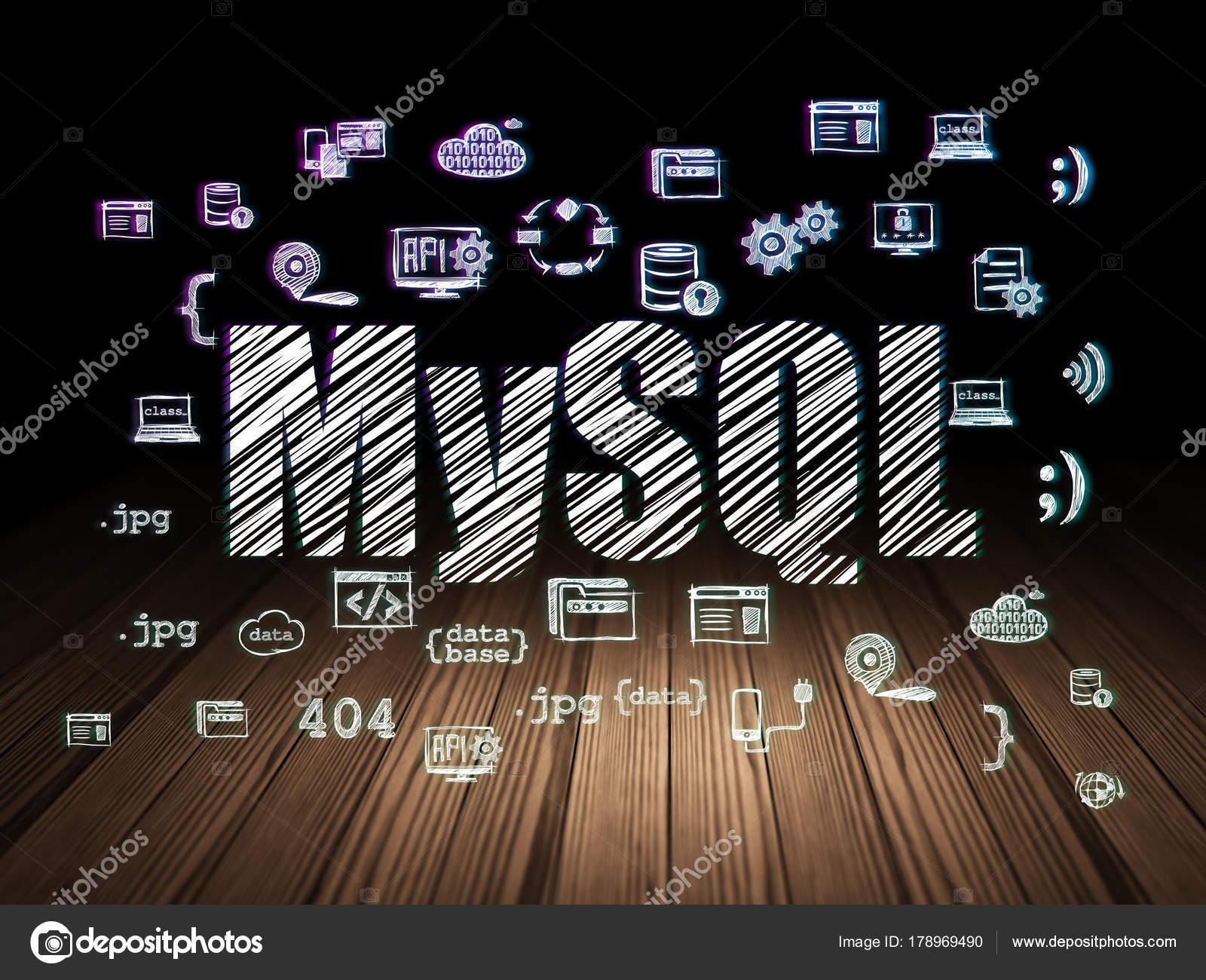 Concetto di database mysql nella stanza scura di grunge for Testo il cielo nella stanza