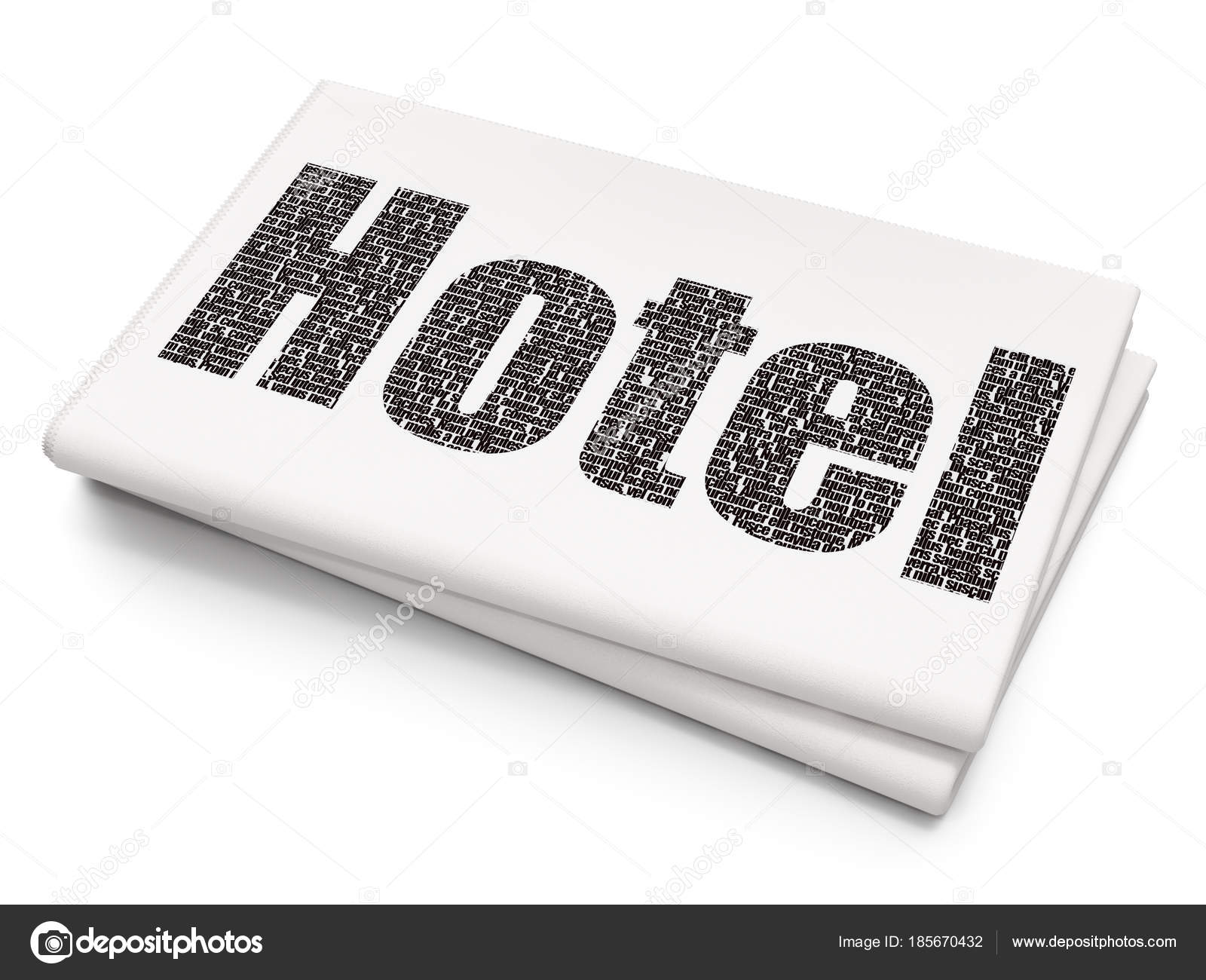 Tourism Concept Hotel On Blank Newspaper Background Stock Photo