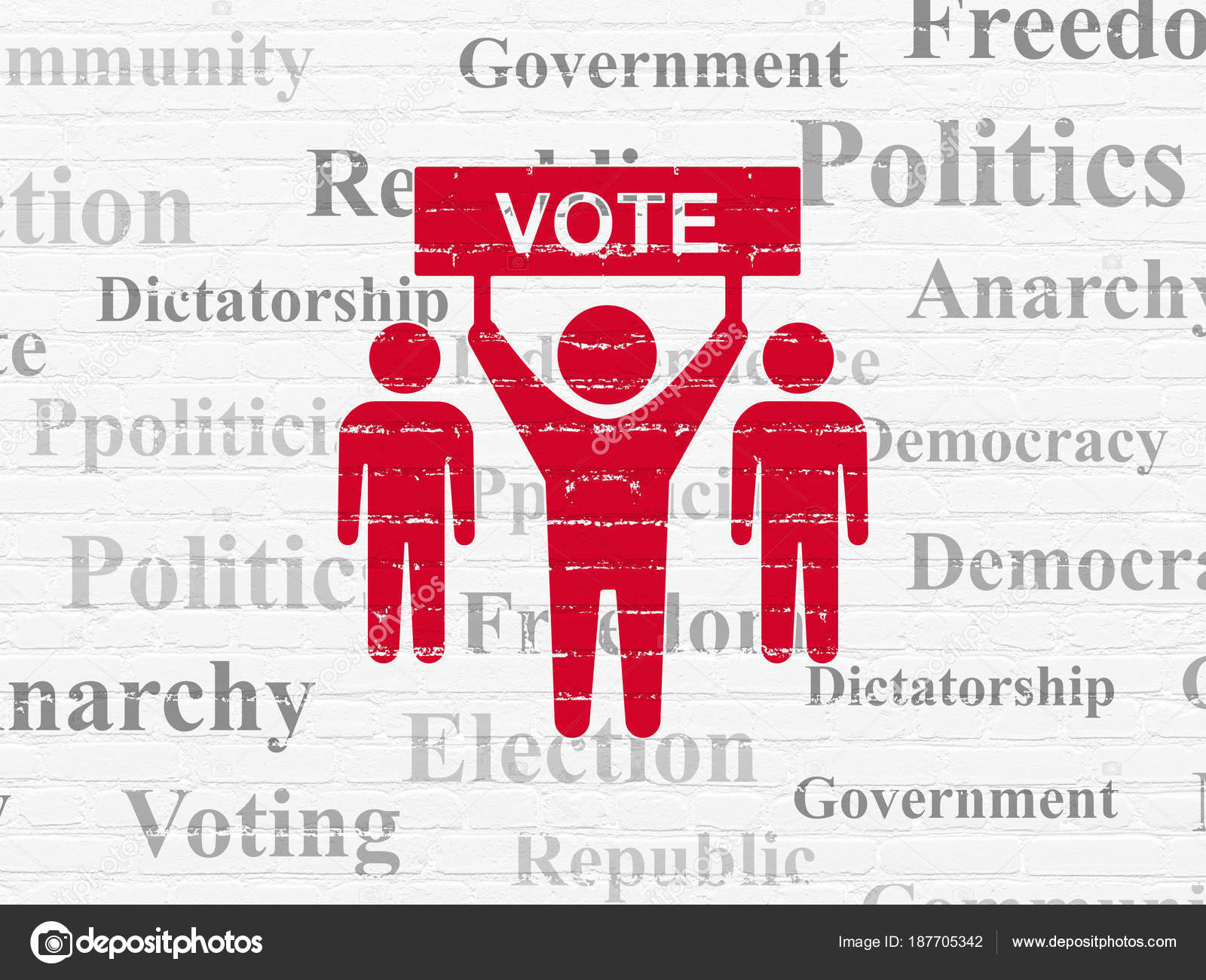 Politics Concept Election Campaign On Wall Background Stock