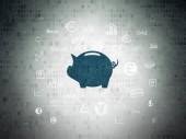 Money concept: Money Box on Digital Data Paper background