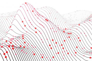 Digital chart with lines and circles on white background. Sound waves abstract visualization. Concept of big data analysis and information technology. Vector illustration of wireframes sound waves .