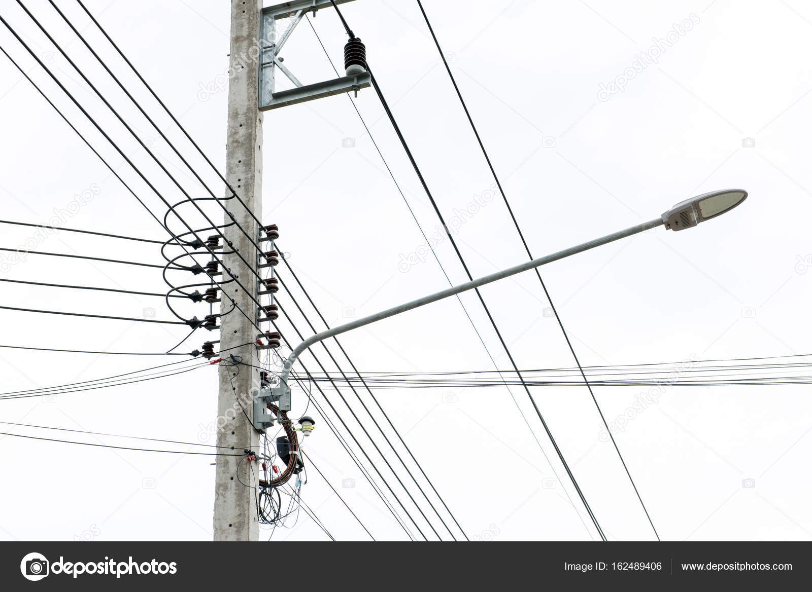 Lamp post and Electric pole connect to the high voltage electric ...