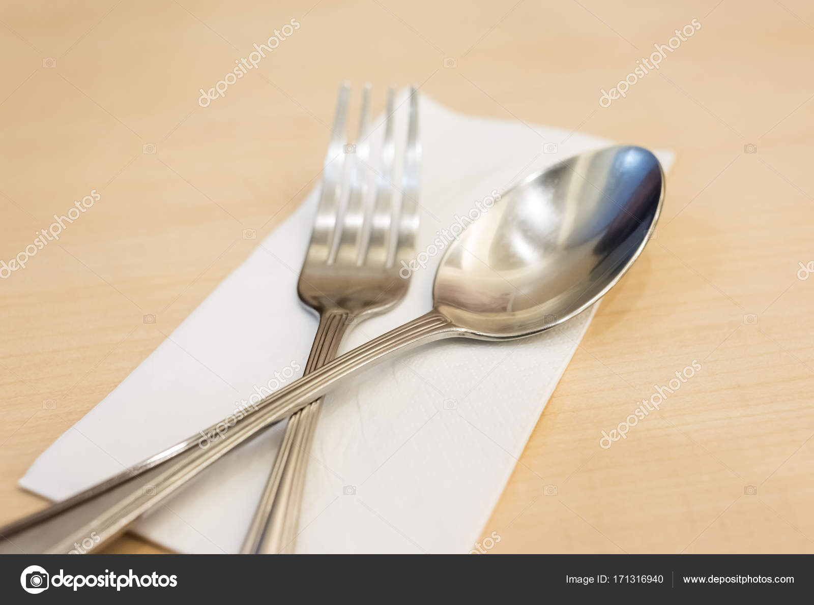 Side View Spoon Fork Tied White Tychy Stock Photo Nattanansia