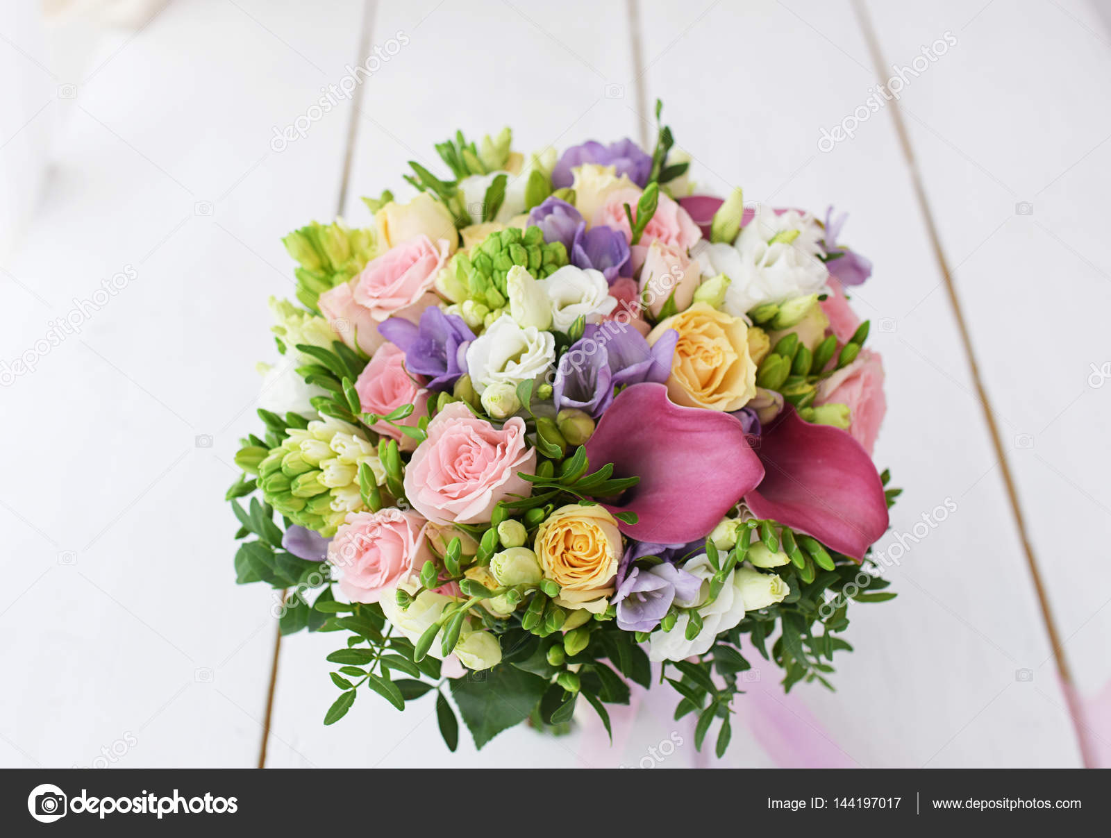 Spring Bright Flower Bouquet For Wedding Stock Photo Elinagall