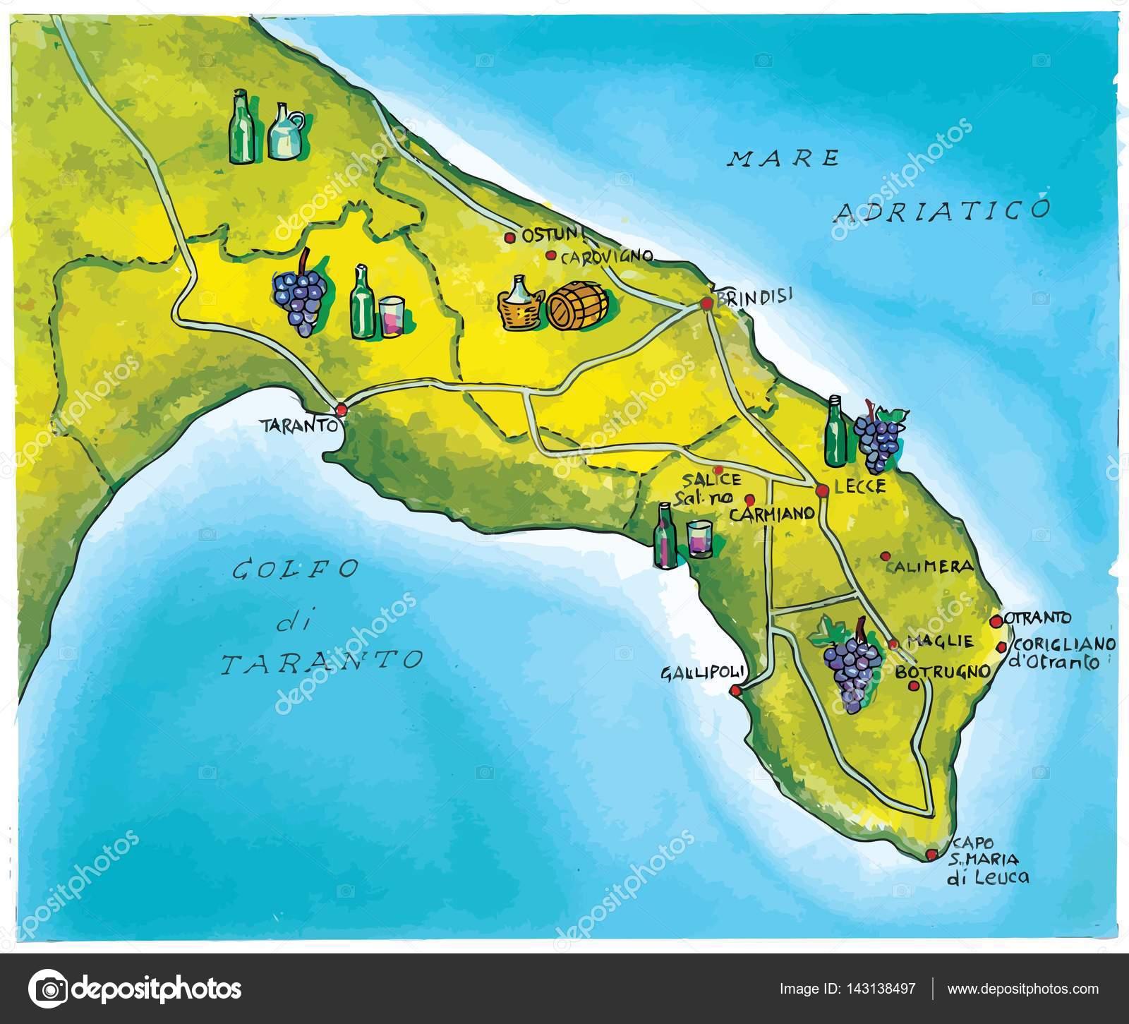 Cartina Puglia Carovigno.Cartina Geografica Della Gastronomia Locale Della Regione