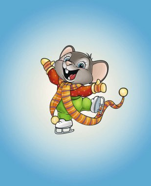 happy mouse on skates