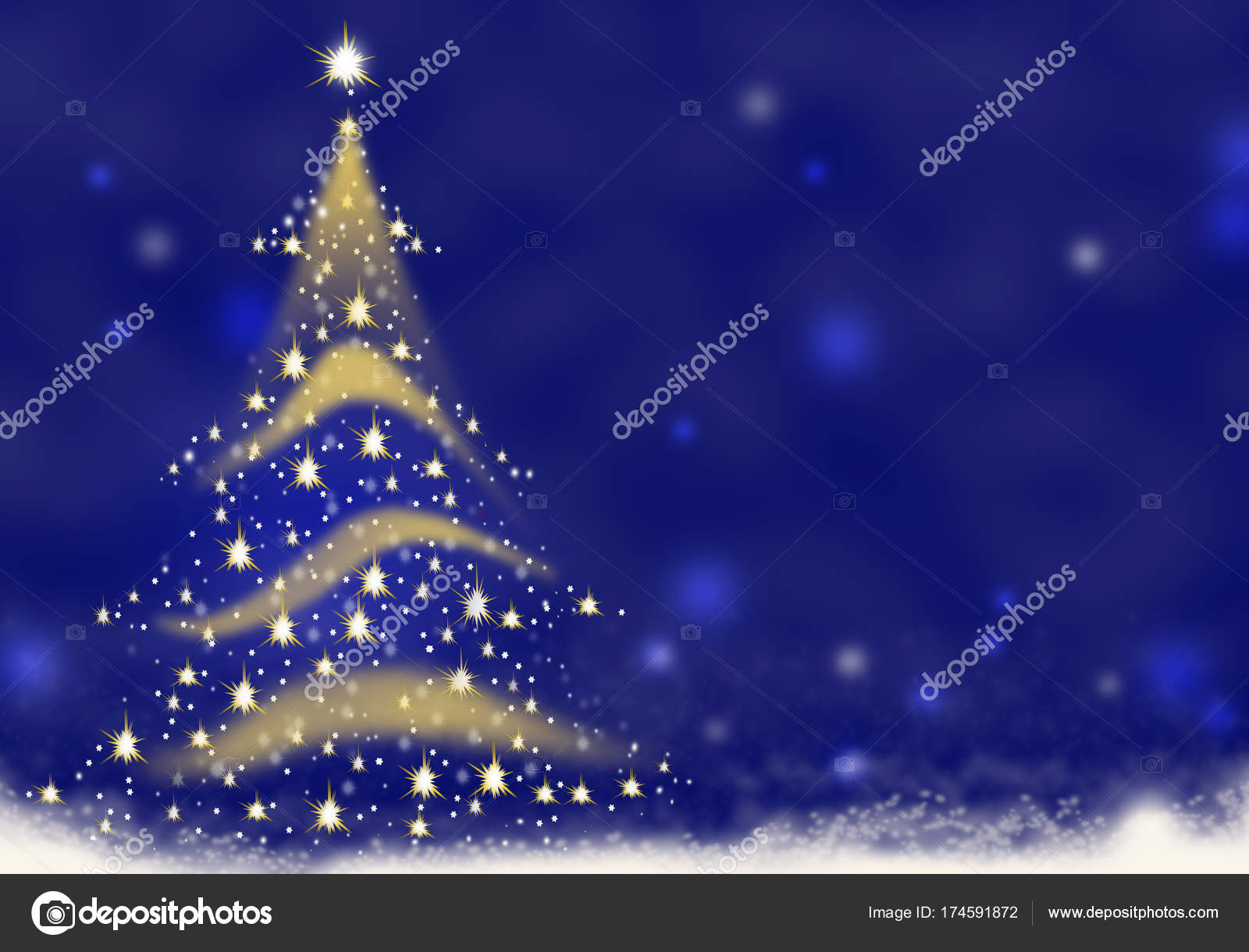 Christmas Tree Gold Lights Formed From Stars Background Blue Red Snow Illustration Stock Photo Image By C Adrianarad1991 174591872