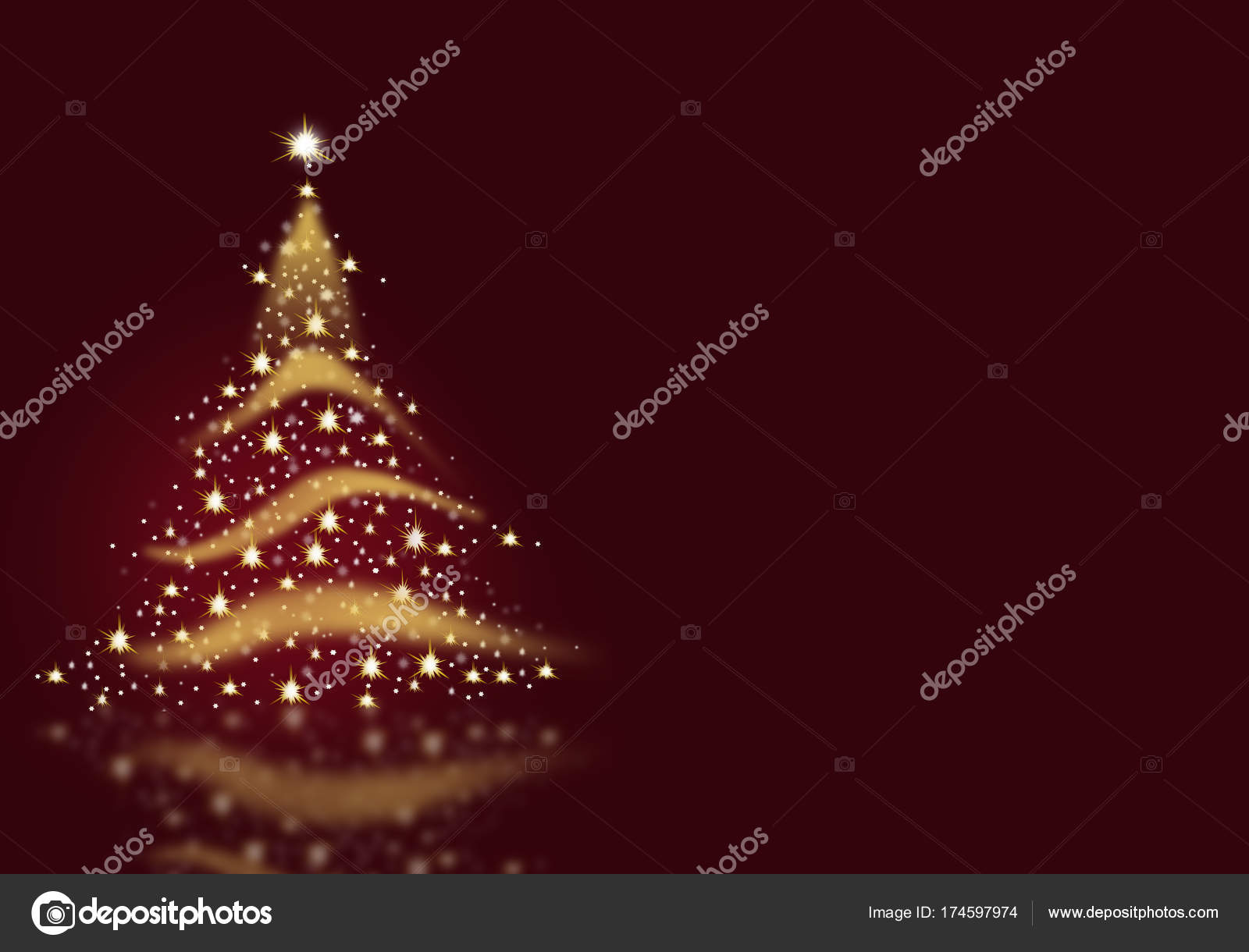 Christmas Tree Gold Lights Formed From Stars Background Blue Red
