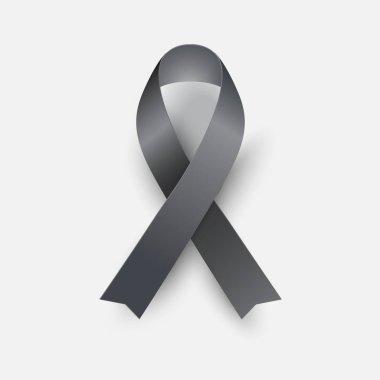 Black awareness ribbon - concept melanoma symbol