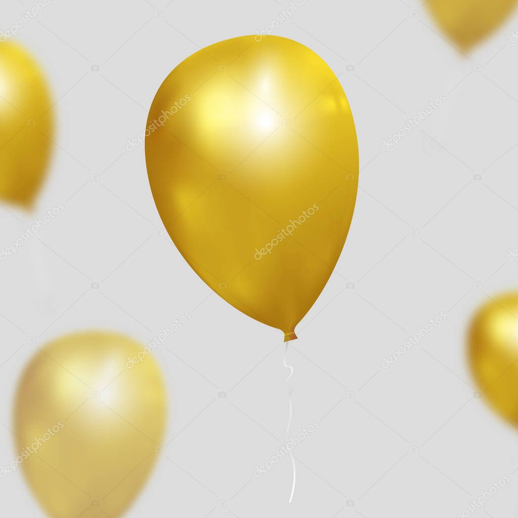 Festive vector background with gold balloons