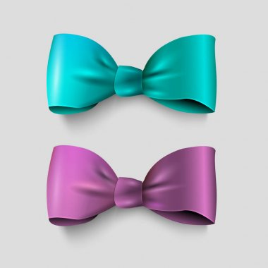 green and violet bows on grey