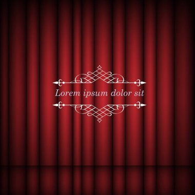 Red curtains and vintage border