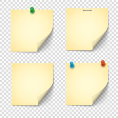 Set of yellow paper notes