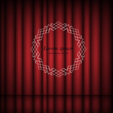 Red curtains and vintage round frame