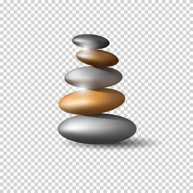 Zen stones tower on transparent background