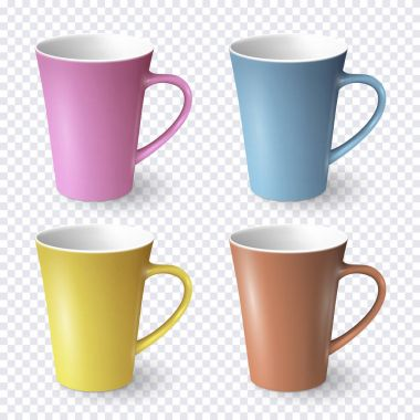 Set of color realistic cups