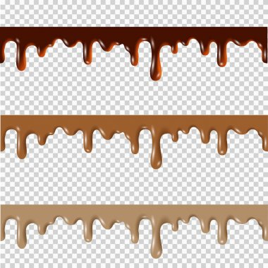 Set of melted chocolate borders