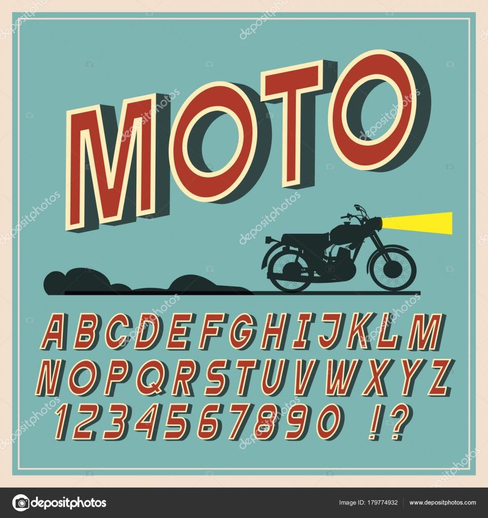 Vintage Font Retro Letters Numbers Alphabet Vector Typeface Labels Stock