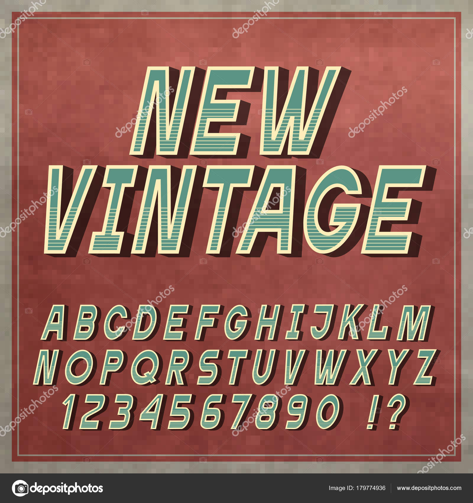 Vintage Font Retro Style Letters Numbers Alphabet Vector Typeface Stock