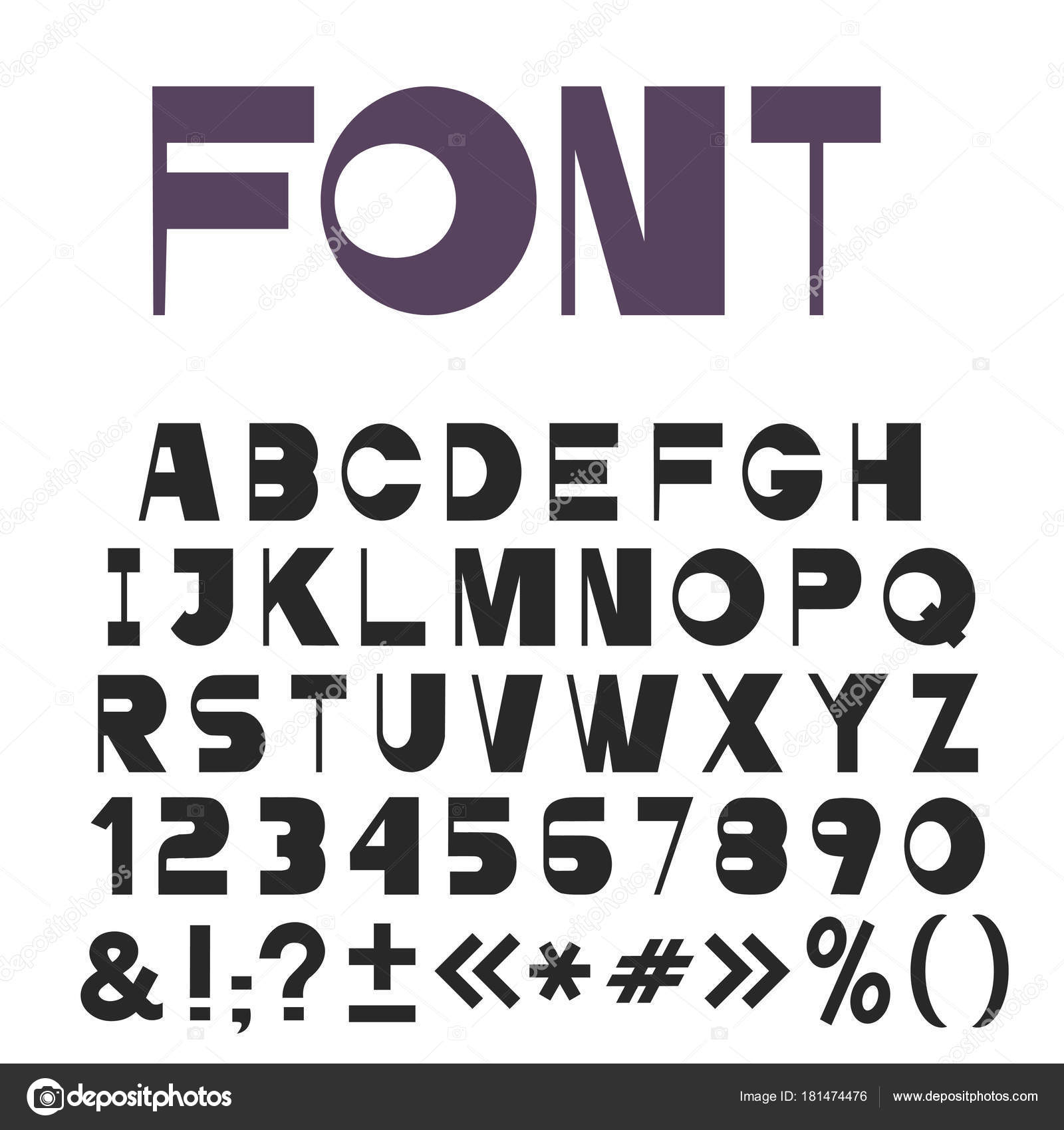 Stylish Universal Font Alphabet Letters Numbers Punctuation Marks Vector Set Stock