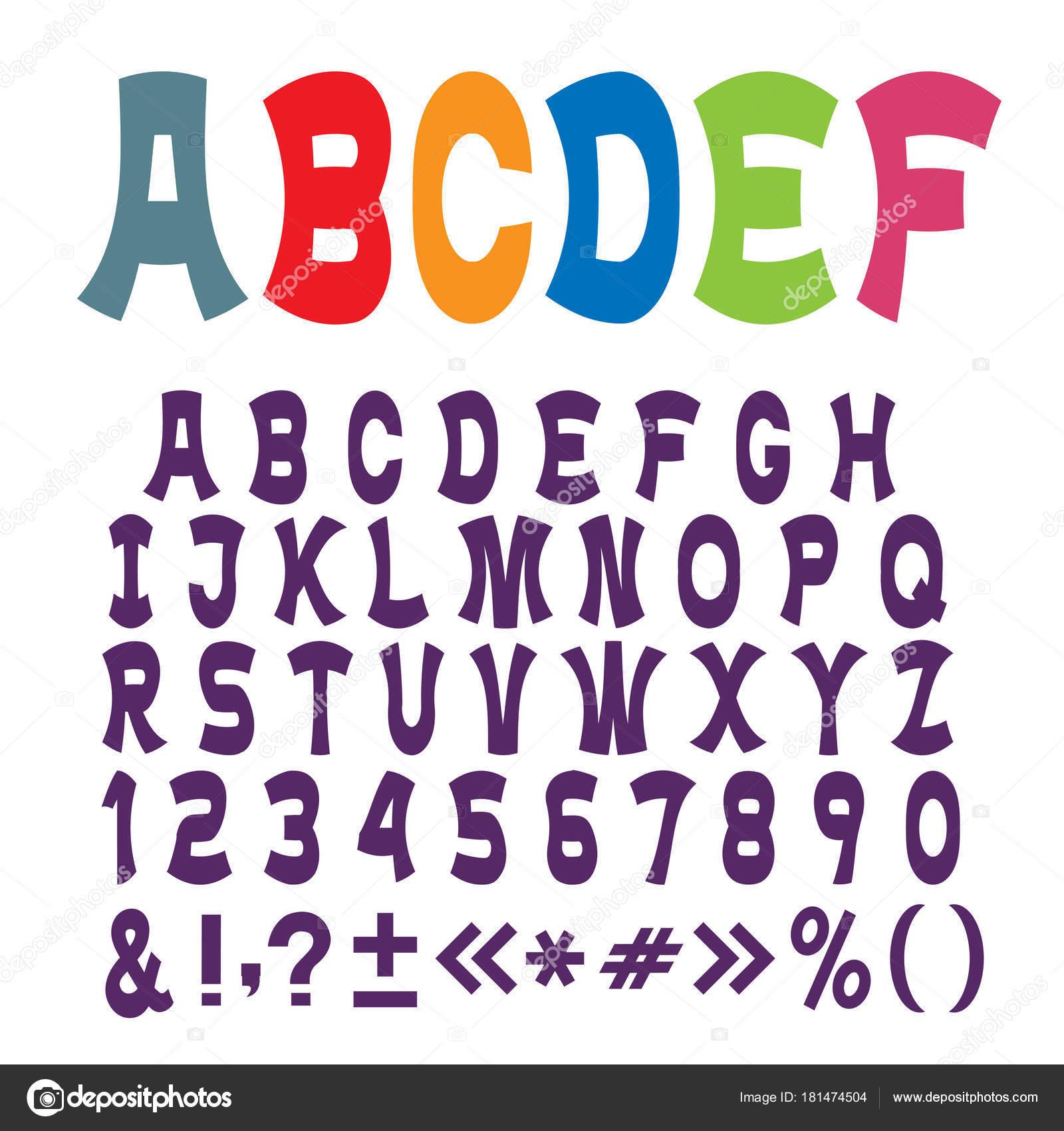 Süße Lustige Alphabet Buchstaben Zahlen Und Satzzeichen Vektor Set