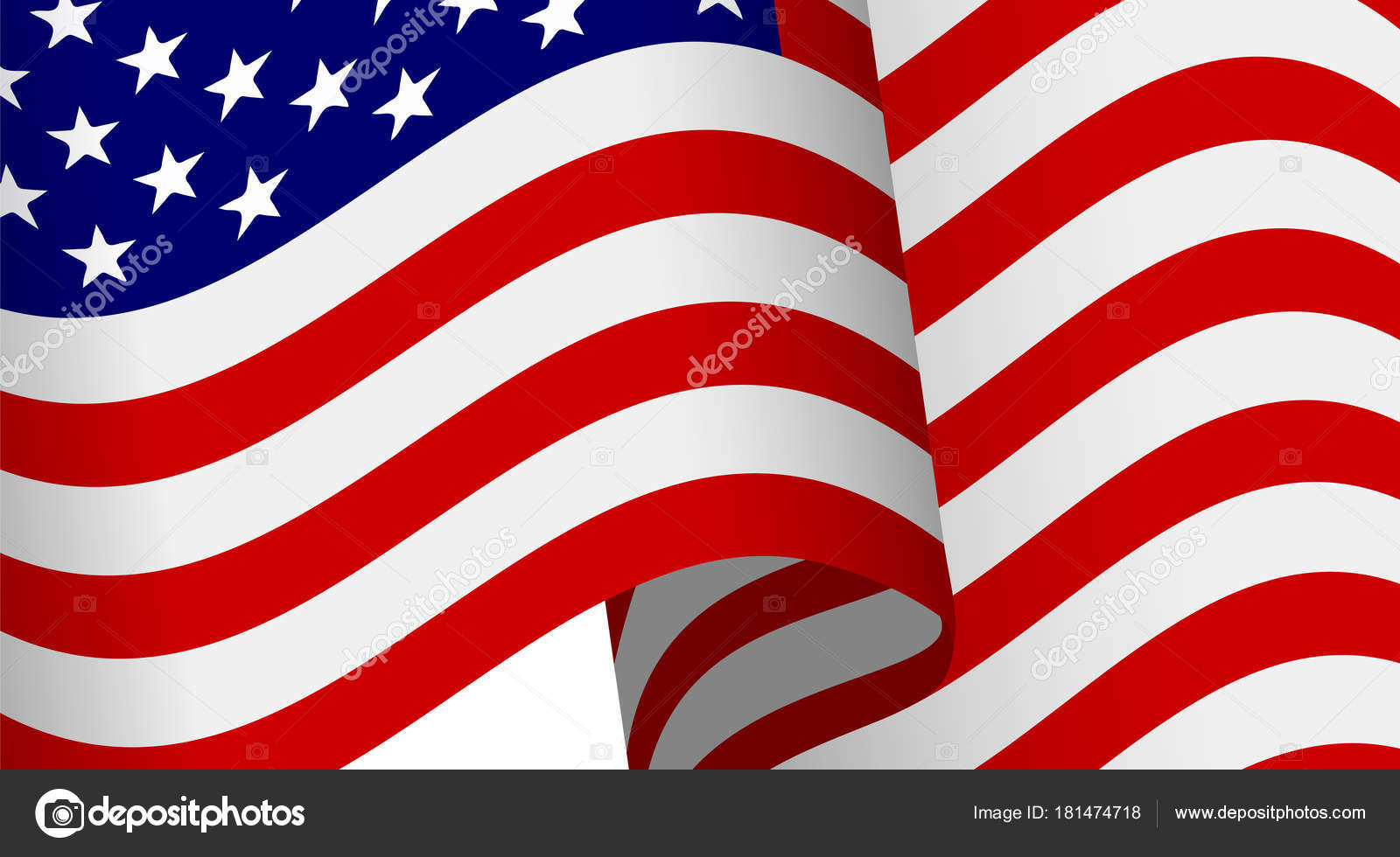 bc1ab66a321f Waving 3d American flag with clipping mask for design. Realistic vector  illustration. Patriotic holidays