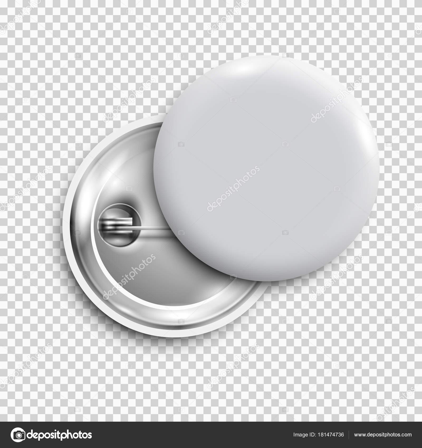 Blanco Insignia Blanco Botón Redondo Pin Botón Aislado Plantilla ...