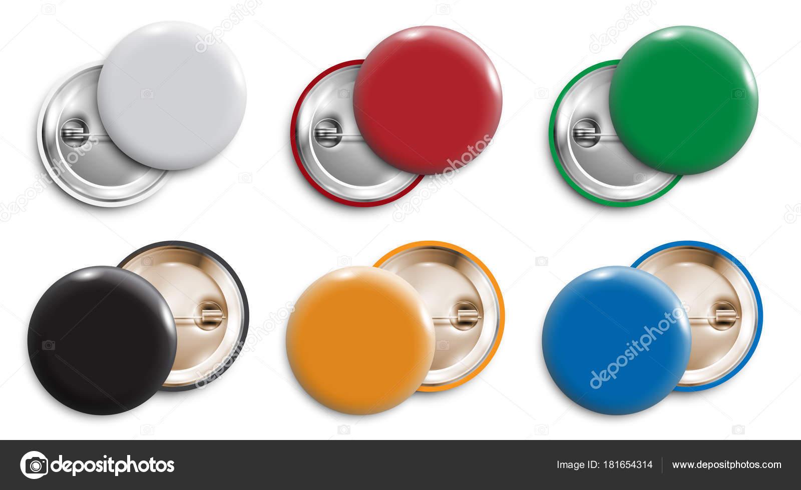 Conjunto Gafetes Blanco Color Botones Redondos Pin Botones Aislado ...