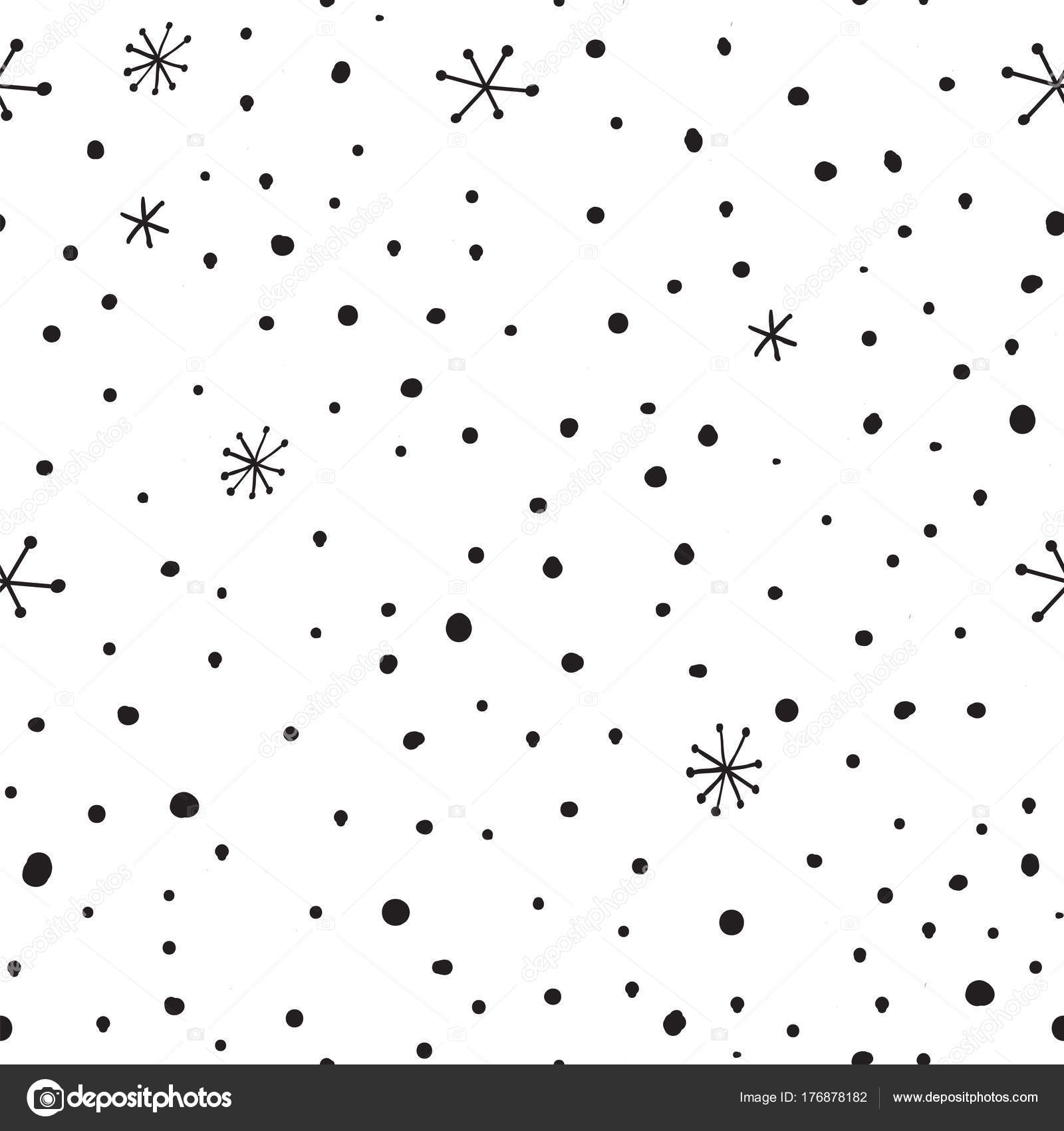 Vector mano dibujada de patrones sin fisuras con puntos y los copos ...