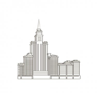 Vector image of high-rise buildings and streets. Skyscrapers of the business section of a major city.