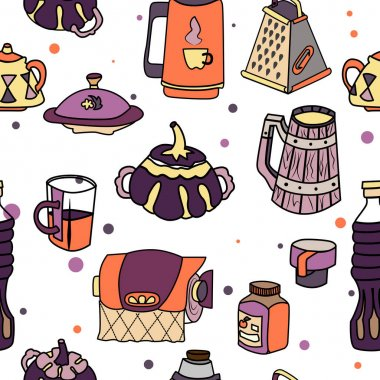 Vector tableware seamless color pattern.