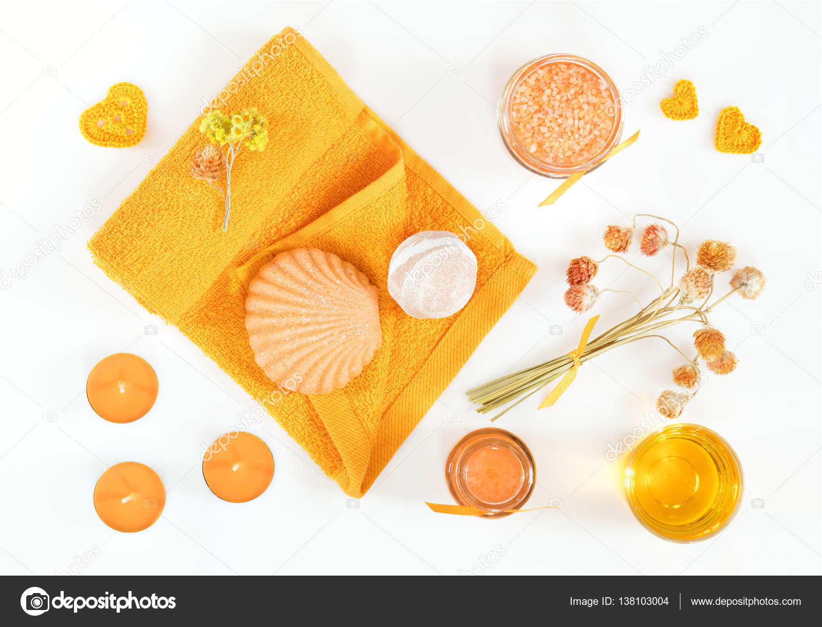 Spa attributes yellow orange sets stock photo vika for Salon orange