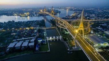 aerial view of bhumibol bridge  in bangkok thailand