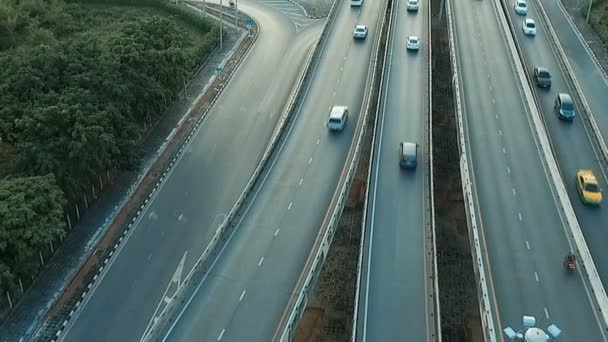 aerial view of traffic in motorway bangkok thailand