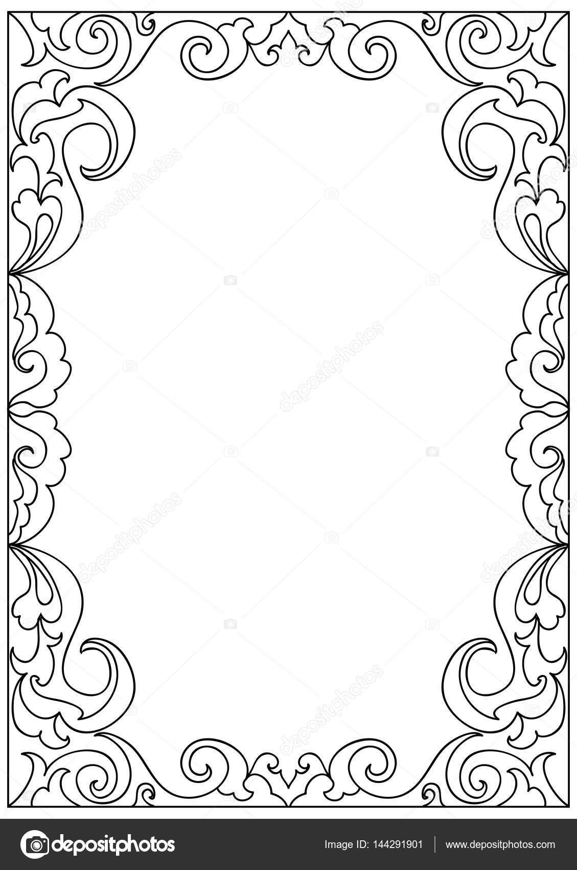 decoratieve bloemen frame kleurplaat stockvector