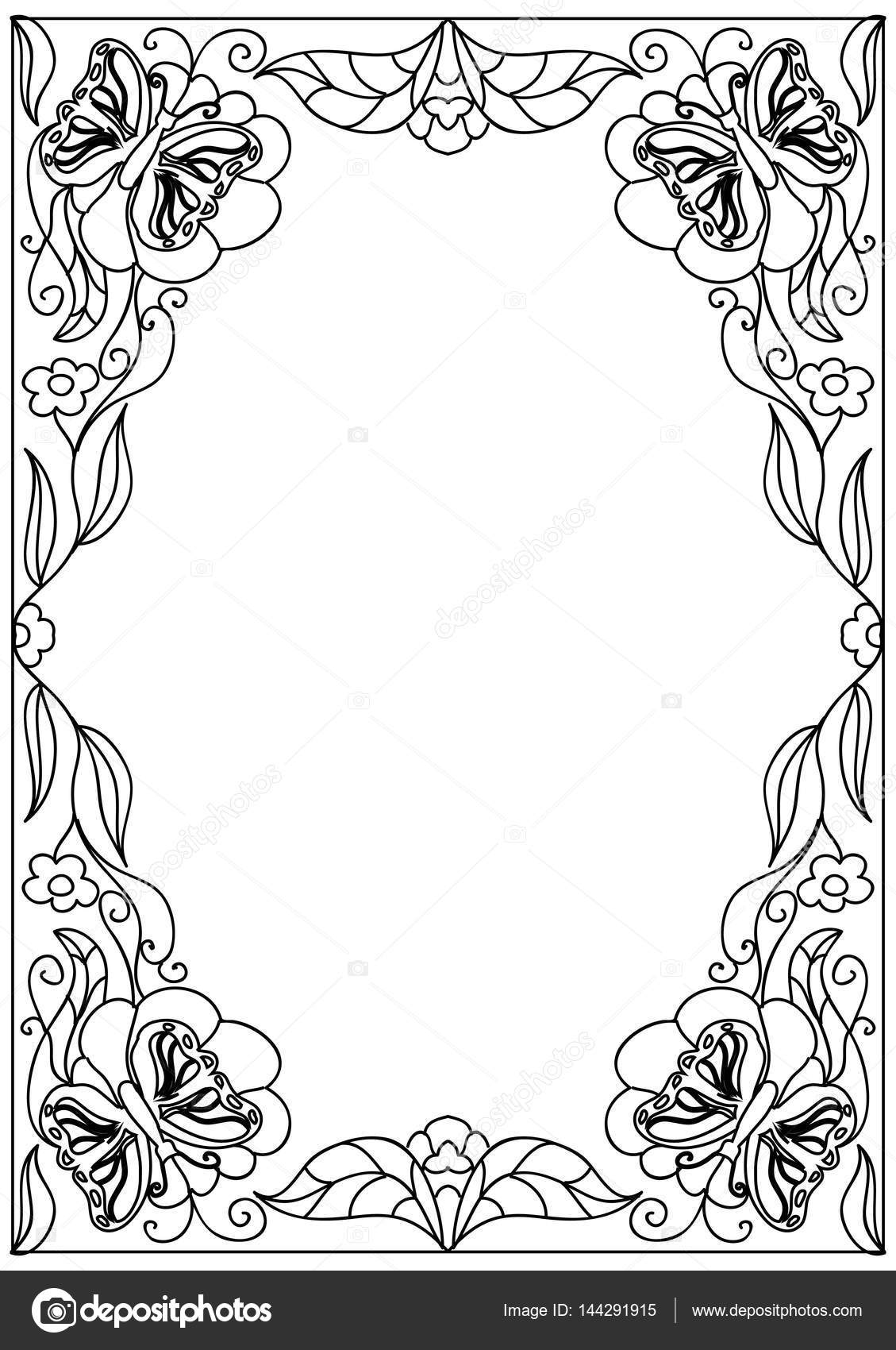 Página de marco decorativo de flores para colorear — Vector de stock ...