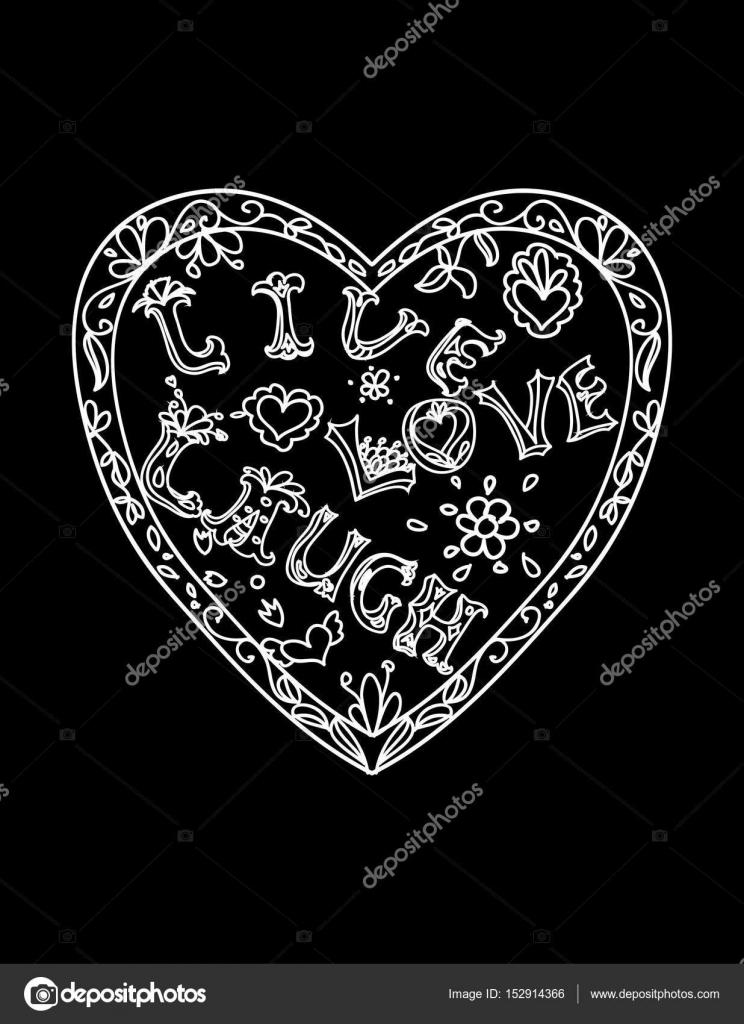 Dekorative Malvorlagen mit Herz geformt Frame Liebe Leben Lachen ...