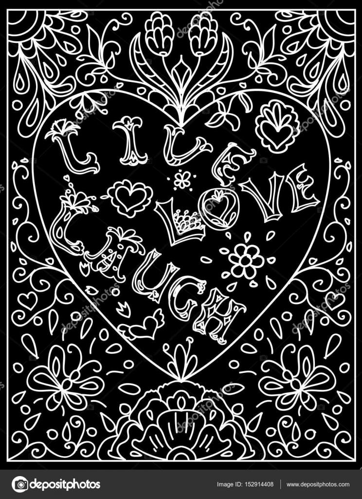 Página para colorear de decorativo con el corazón en forma de marco ...