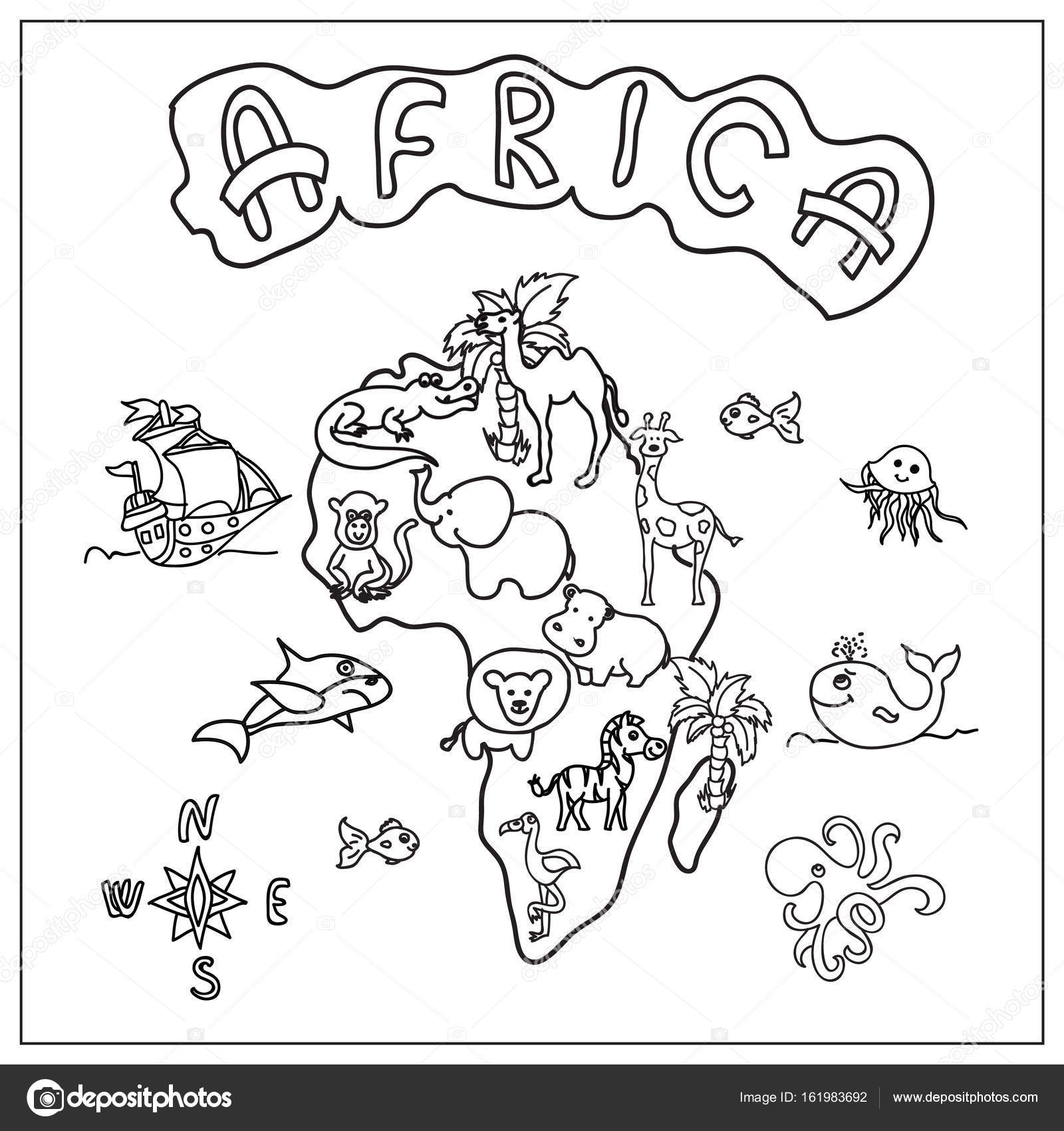 Africa Continent Kids Map Coloring Page U2014 Photo By Nuarevik