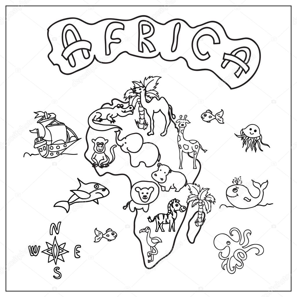 Pictures: africa map coloring | Africa continent kids map ...
