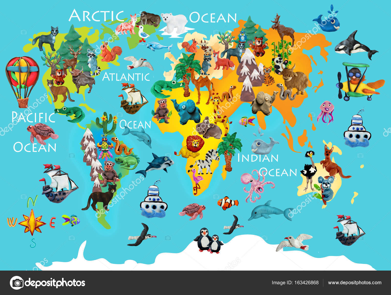 World animals plasticine colorful kids 3d map — Stock Photo ...