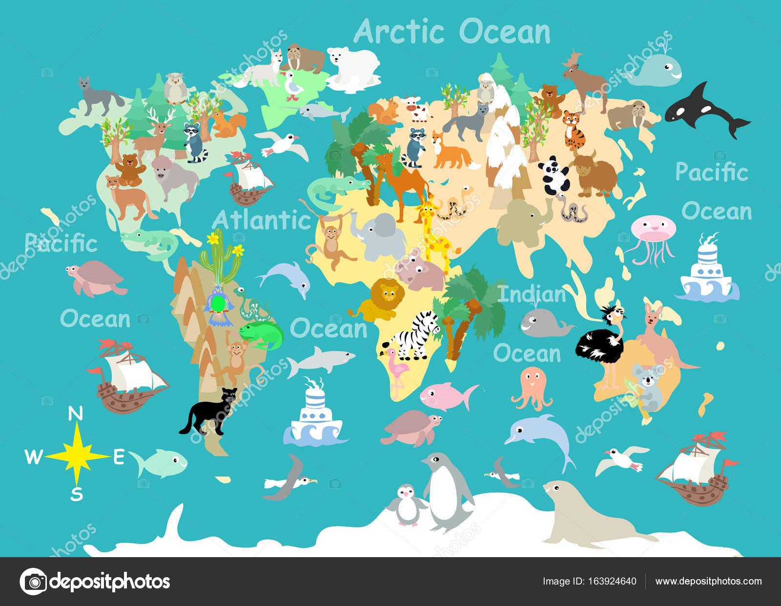 Flat World Animals Cartoonish Kids Map U2014 Stock Photo