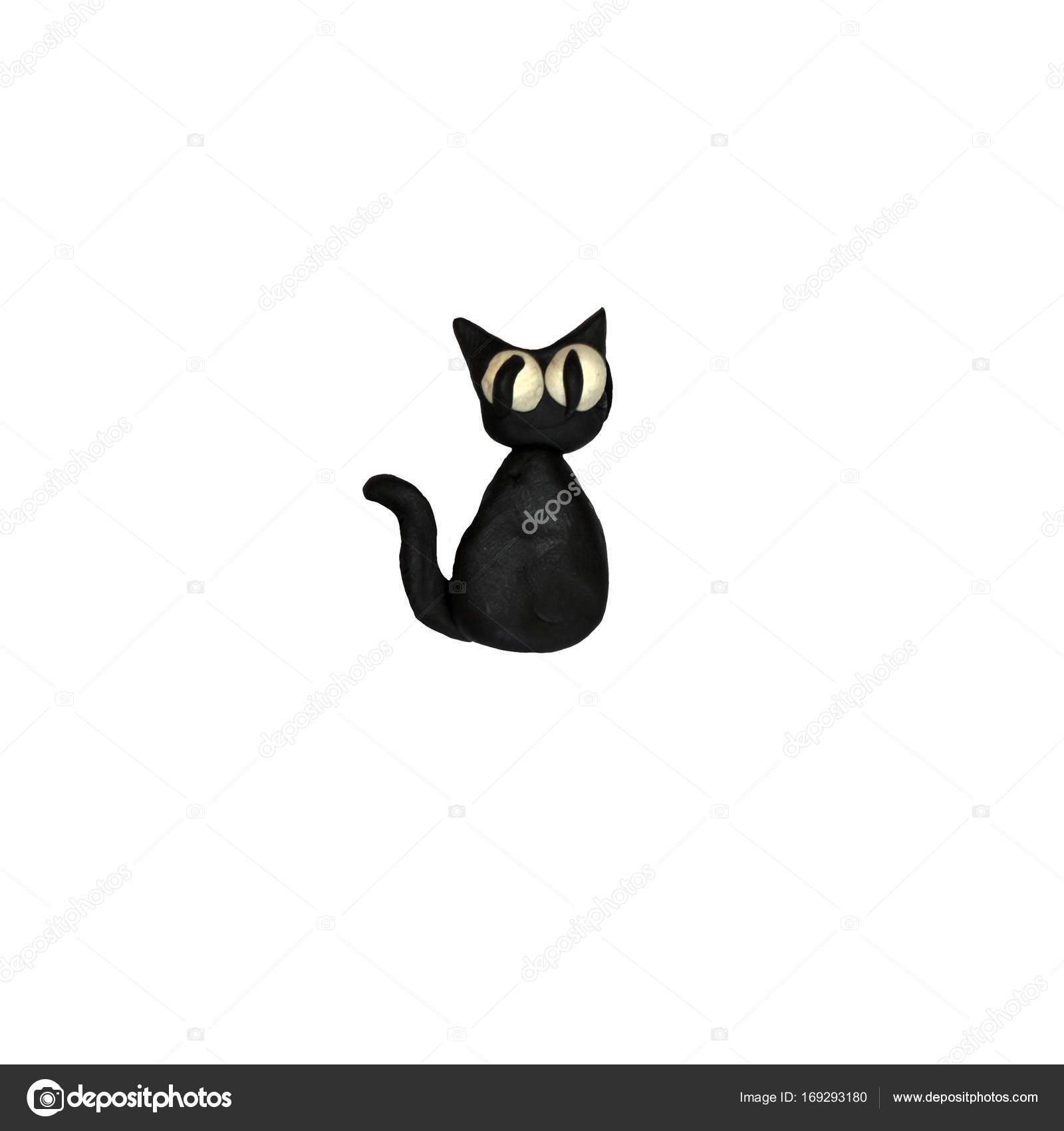 Ikony 3d Halloween Plasteliny Czarny Kot Zdjęcie Stockowe