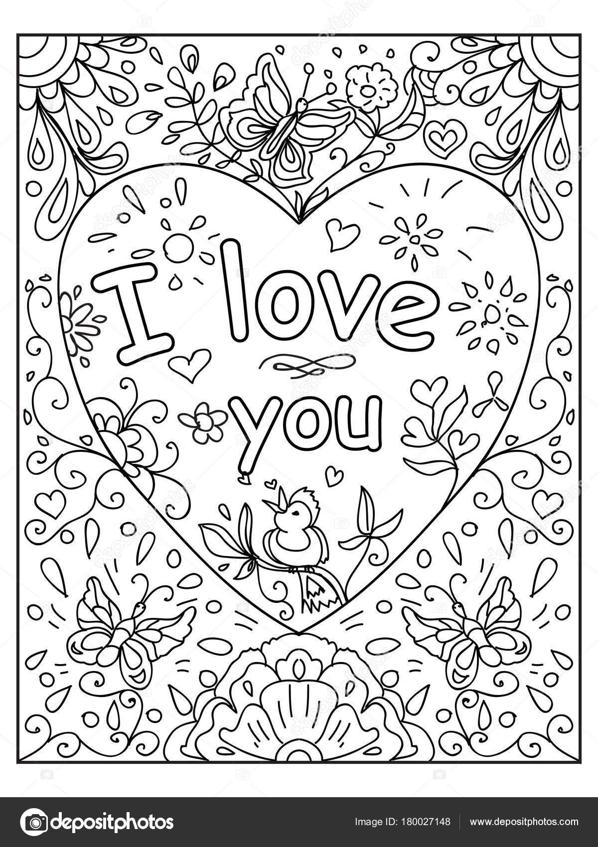Kleurplaten Van Valentijn.Hou Van Citaat Volwassen Kleurplaat Valentijn Stockfoto C Nuarevik