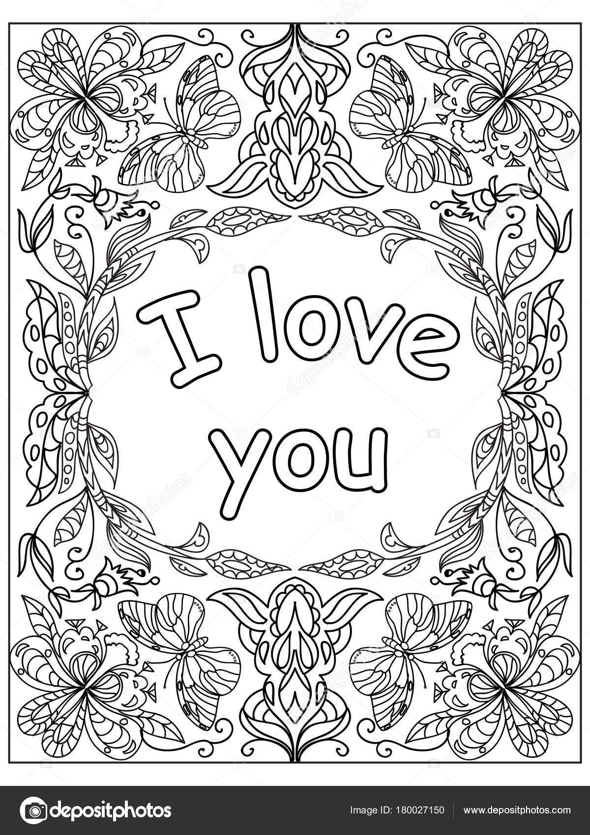 hou citaat volwassen kleurplaat valentijn stockfoto