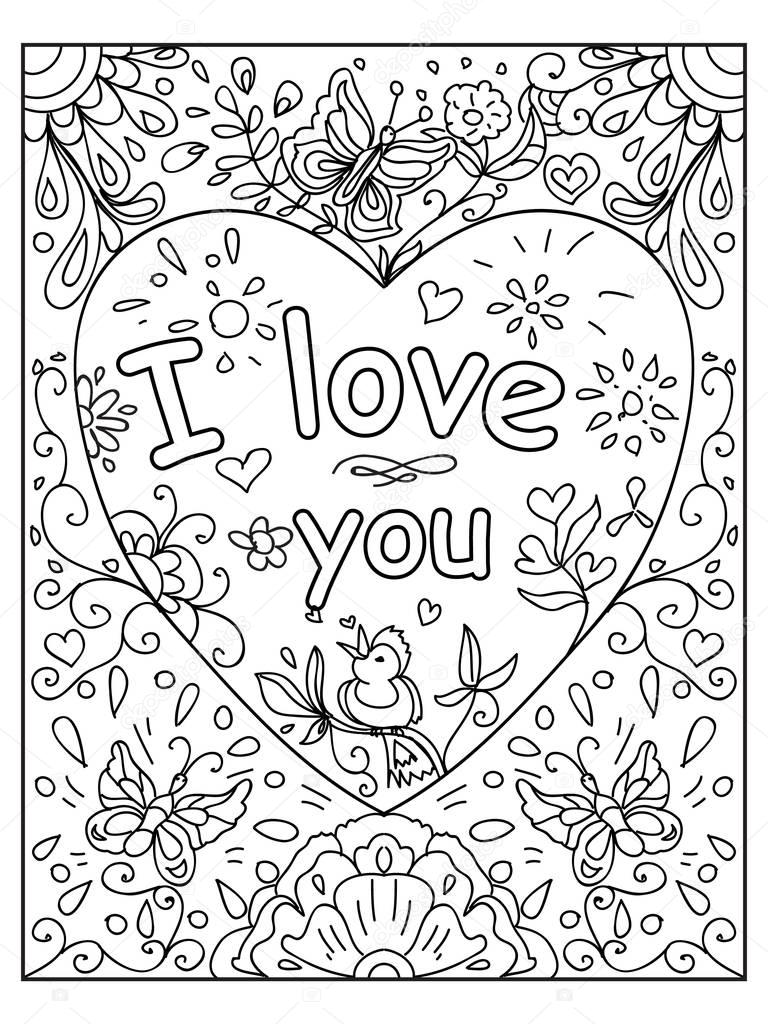 Valentine Love You Quote Adult Coloring Page — Stock Photo ...